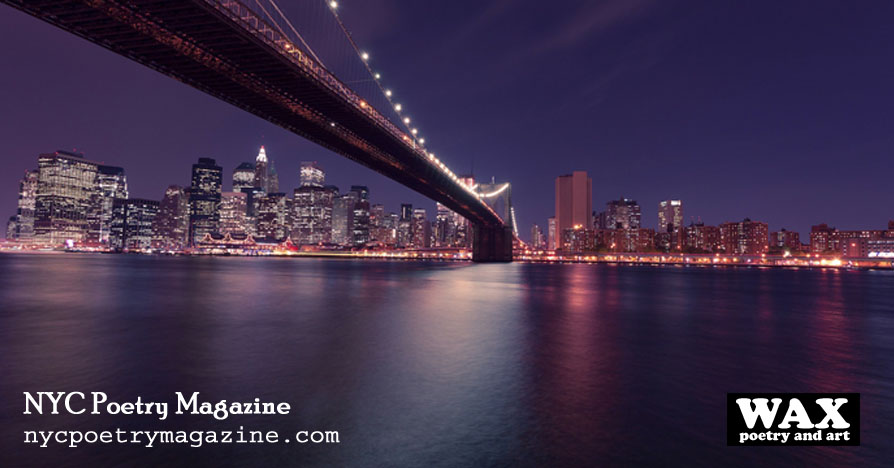 Image shows NYC skyline at night - NYC Poetry Magazine - nycpoetrymagazine.com