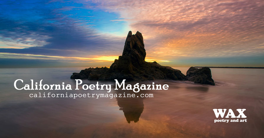 Image shows ocean rocks reflected in the water at sunset - California Poetry Magazine - californiapoetrymagazine.com