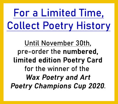 Poetry Champions Cup 2020, winner's Poetry Card - Click here to pre-order.
