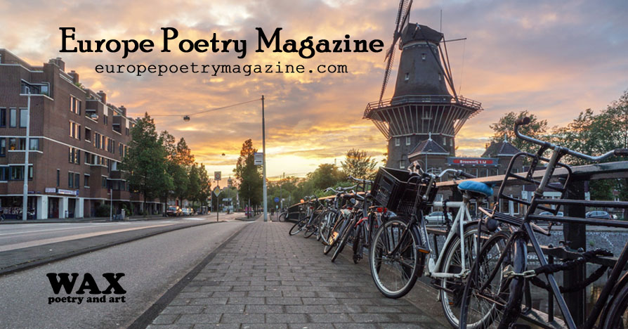 Image shows bicycles locked to a rail in Amsterdam - Europe Poetry Magazine - europepoetrymagazine.com