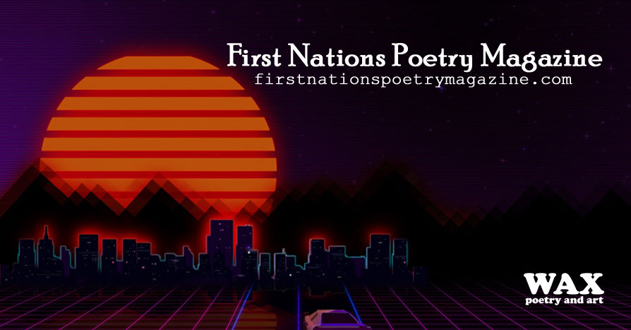 Image shows drawing of a car driving toward a futuristic city - First Nations Poetry Magazine - firstnationspoetrymagazine.com
