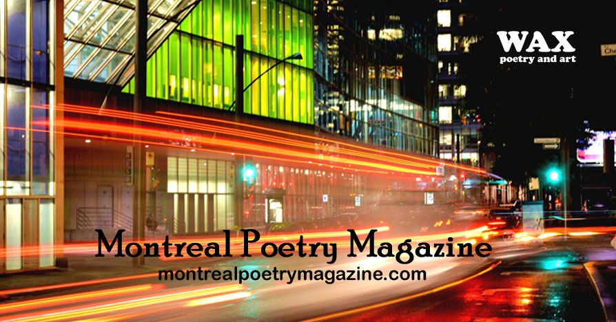 Image shows long exposure night time shot of Montreal - Montreal Poetry Magazine - montrealpoetrymagazine.com