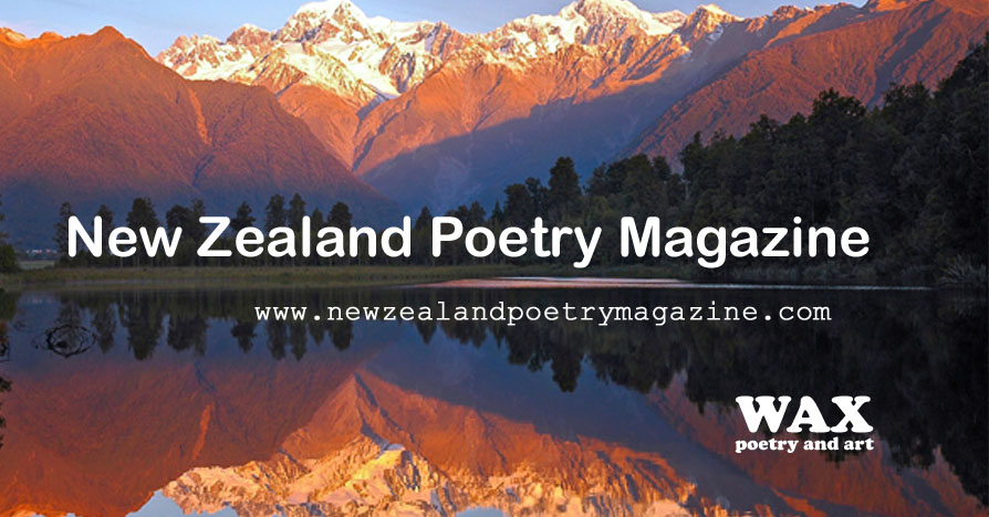 New Zealand Poetry Magazine - image shows mountains and trees near Lake Tekapo, and their reflection in the lake. www.newzealandpoetrymagazine.com