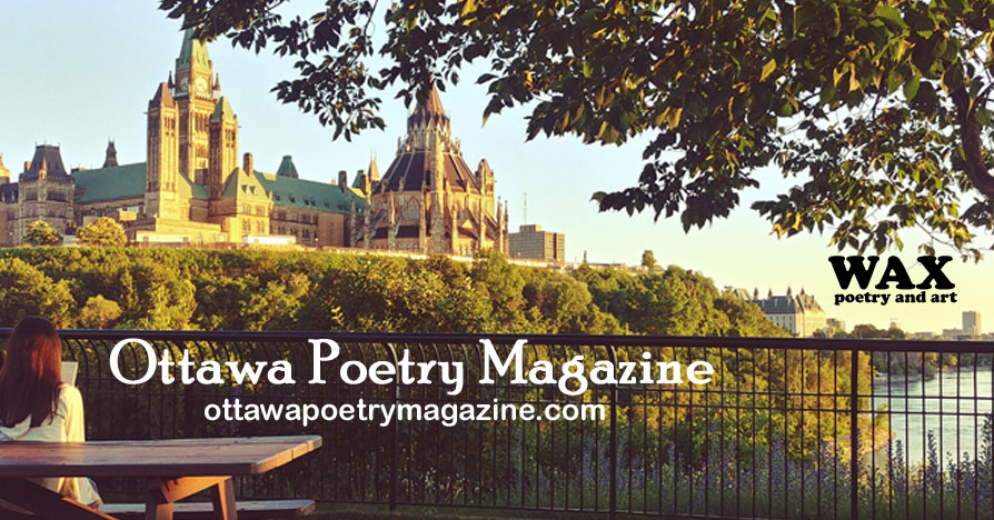 Image shows a female presenting person reading, overlooking water and buildings in Ottawa - Ottawa Poetry Magazine - ottawapoetrymagazine.com