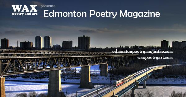 Image shows parallel passenger and freight rail bridges over snow covered river, tall buildings in background - Edmonton Poetry Magazine - edmontonpoetrymagazine.com