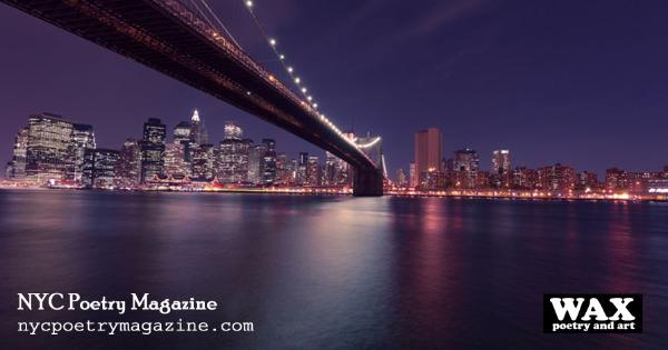 Smaller image for Facebook - Image shows NYC skyline at night - NYC Poetry Magazine - nycpoetrymagazine.com