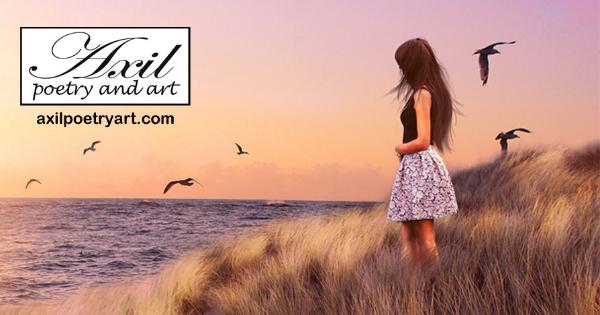 smaller header image for Facebook, female-presenting person gazing over water and bird from grassy hill - Axil Poetry and Art - axilpoetryart.com