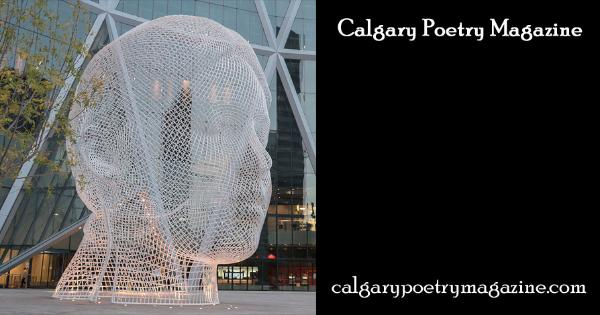 smaller header image for fb - Calgary Poetry Magazine header - image shows sculpture of a head - click to go to the Calgary Poetry Magazine home page.