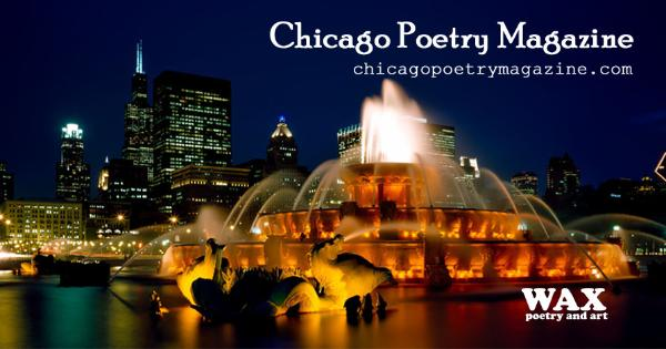 Smaller image for Facebook - image shows a fountain in Chicago lit up at night - Chicago Poetry Magazine - chicagopoetrymagazine.com