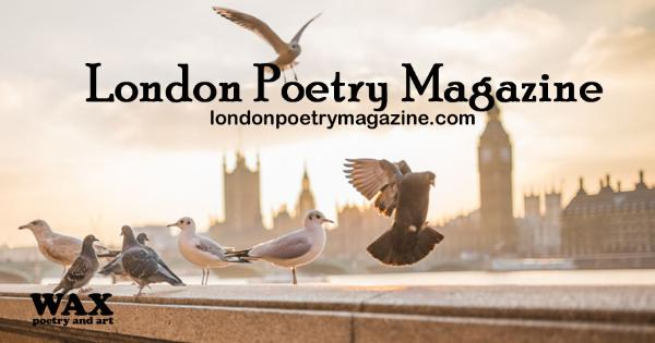 smaller image for facebook - Image shows pigeons on a bridge in London, hazy light - London Poetry Magazine - londonpoetrymagazine.com
