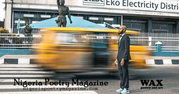 Smaller image for Facebook - Images shows a man standing on the street while a yellow van streaks behind him - Nigeria Poetry Magazine - nigeriapoetrymagazine.com